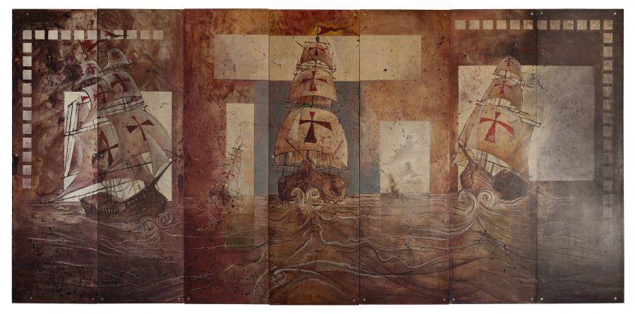 CARAVELAS, 1999, (acrílico sobre madeira) – tamanho 2,20  x 5,20