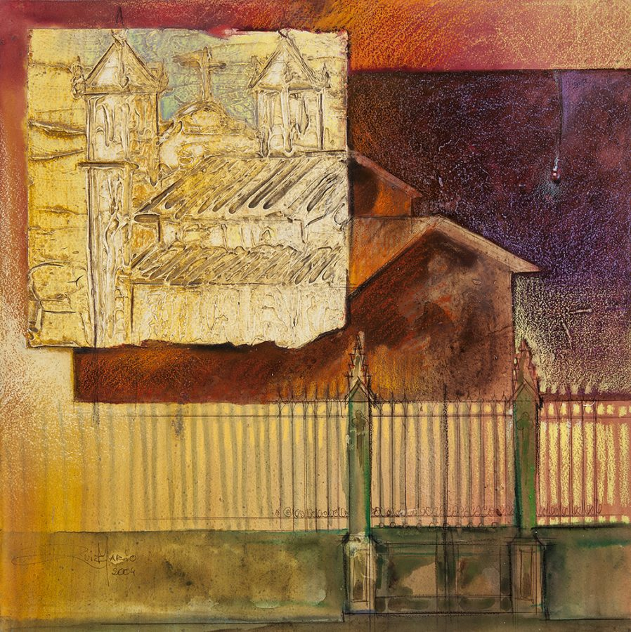 IGREJA SOBRE MADEIRA, 2005 (acrílico sobre madeira) 45 x 45