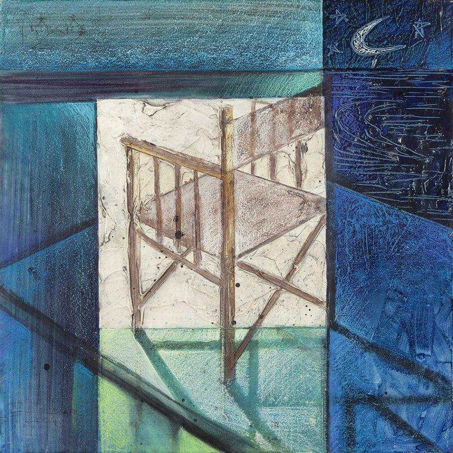 SÉRIE AZUL – CADEIRA, 2004 (acrílico sobre madeira) – tamanho 45 x 45