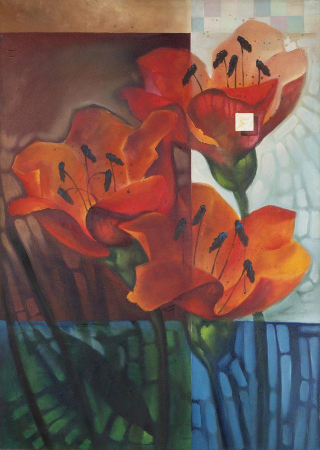 SÉRIE FLORES, 2001 (acrílico sobre tela)  - tamanho 1,40 x 1,00