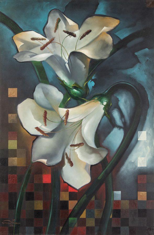 SÉRIE LÍRIOS, 2002 (óleo sobre tela) tamanho 1,45 x 95