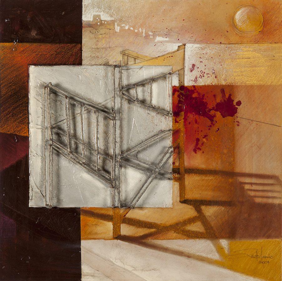 SÉRIES CAMINHOS PARALELOS II, 2004 (acrílico sobre madeira) 45 x 45