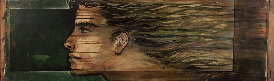 TELA OLHAR MASCULINO PERFIL, 1996, (óleo sobre papel) – tam 45 x 55